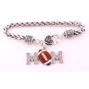 Браслет для женщин подарок мама футбол покрытием шипованных с игристых Кристалл кулон браслеты пшеницы цепи