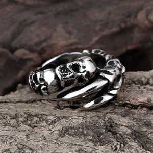 Kostenloser Versand - Skull Paw Herren Ring 316L Edelstahl Schmuck Silber Farbe Dragon Claw Ring Herren Biker Ringe Größe 8 bis 11