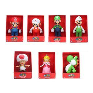 23cm의 형제가 그림 요시 복숭아 공주 두꺼비 PVC 액션 피규어 장난감 마리오 루이지 그림 장난감 인형