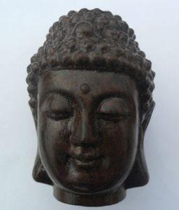 Buddismo tibetano in legno intagliato a mano in legno Sakyamuni Buddha testa statua