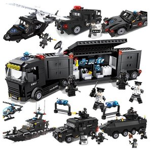 Children's city police put up building blocks, military special police to assemble plastic puzzle toys