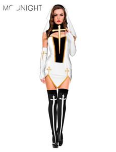 MOONIGHT 4 Adet Seksi Rahibe Kostüm Yetişkin Kadın Cosplay Elbise Için Beyaz Hood Ile Cadılar Bayramı Kostüm Kardeş Cosplay Parti