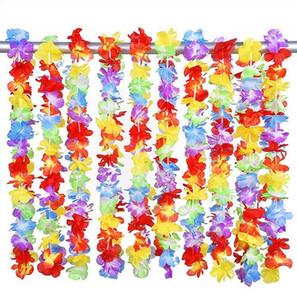 Festa de aniversário Eco-Friendly 50pcs Luau havaiano da flor Leis flores artificiais Garland Colar Fancy Dress Wedding Decoração feliz