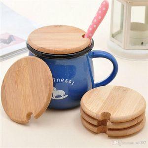 Taza de café de madera Tapas Práctica Drinkware Tapa Anti Polvo Redondo Breve Deisgn Latas de Vidrio Taza Cubierta Para Uso de la Cocina 3xm ZZ