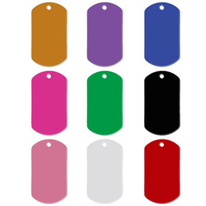 10pcs / lot Alluminio Pet ID Tag Rectangle Shape Inciso ID Cat Dog Charm doppia faccia Nome Indirizzo Telefono Pet Tags
