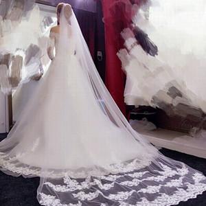 3M Best Selling Cheapest Long Chapel Length Bridal Veil Appliques Veu De Noiva Longo Wedding Veil Lace Purfle with Comb