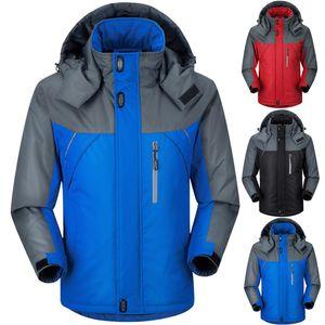 2018 addensare Warm manica lunga impermeabile parka Inverno uomo incappucciato Patchwork Windbreaker Coat Plus Size Manteau Hiver 4XL 5XL