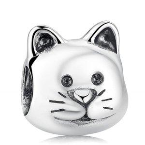 Curious Cat Charm Perles Original 925 Sterling Silver Animal Perles Convient Marque européenne Bracelets Diy Making Summer Fine Jewelry HB317