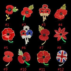 Royal British Legion brooches Red Crystal Poppy Flower Beautiful Stunning Poppy Flower Brooches for Lady Women Fashion Badge Brooch