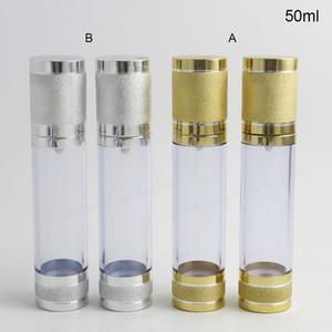 200 x 50 ML Gold Silber Reise Nachfüllbar Airless Creme Lotion Pump Flasche Vakuum Kosmetische Verpackung 50cc Airless Container