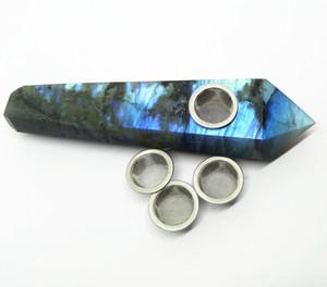 Natürlicher Edelsteinpunkt Tabakrohr Labradorit Kristallstab Rauchrohr mit drei Metallgittern und 1 Reinigungsbürstenheilung