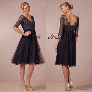 Stylish Knee Length Lace Mother Of The Bride Dresses V Neck Wedding Guest Dress A Line Tulle Plus Size Evening Gowns