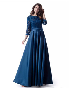 Lace Top Satin Modest Bridesmaid Dresses Long With 34 Sleeves A-line Country LDS Wedding Bridesmaid Robes Custom Made 2018 New Floor Length