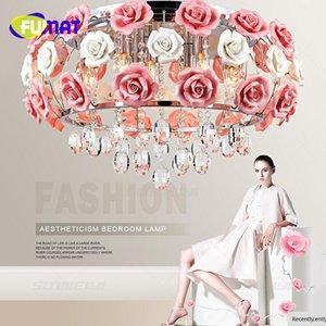 FUMAT керамические розы корейский сад минималистский LED хрустальная люстра висит спальня, гостиная лампы