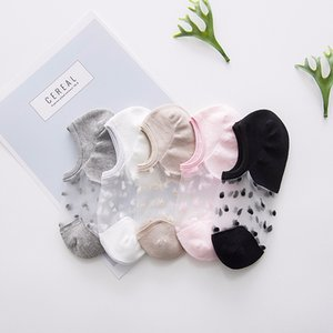 5pair Ladies Boat Socks Thin Crystal Silk Antiskid Slippers Invisible No Show Low Cut Socks for Women Transparent Summer