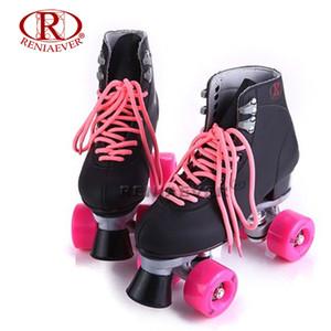 RENIAEVER Roller Skates Double Line Skates Nero Donna Donna Lady Adulto Con Rosa PU 4 Ruote Two line Pattinaggio Scarpe Patines