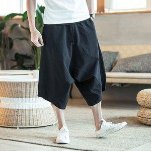 Legible erkek geniş kasık harem pantolon gevşek yaz büyük kırpılmış pantolon geniş bacaklı olgunlaşanlar Çin tarzı keten baggy 5XL