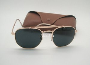 1Pair 새 도착 고품질의 망 여성의 육각 선글라스 금속 불규칙한 일 안경 골드 블랙 54mm 유리 렌즈 브라운 케이스