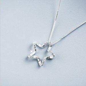 Fünfzackigen Sterne Zirkon Halskette Kette weibliche Schlüsselbein Kette Südkorea Simpled Zirkon Sternen Halskette weiblichen Schlüsselbein Geburtstag