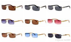 Marca Estilo de verano para hombre Gafas Lente azul metal dorado Marco sin montura Piernas de madera Gafas polarizadas oculos Gafas para hombres