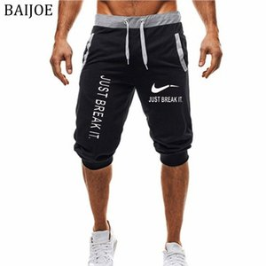 2018 Summer New Hommes short JUST BREAK IT Imprimé Mode Casual Jogger Knee Longueur Sweatpants Man Fitness Hip hop Short
