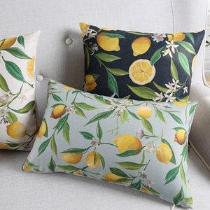 Frutta Limone cuscini Piante verdi Lemon Tree Leaves Fiori Cuscino Copricuscino Cotone Divano, Sedia lino decorativi