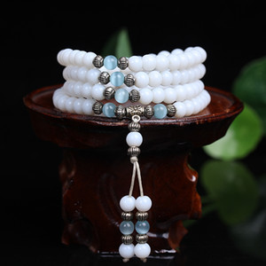 New Fine 6mm White Chalcedony  Tibetan Buddhist 108 Prayer  Bracelet Gourd Mala Prayer Bracelets For Meditation