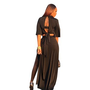 Sexy Backless Bow-tie con cordones 2 piezas Set Women's Summer Solid Black Deep V Tops recortadas + High Slit Long Skirt Casual Beach Set