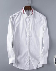 De luxe Hommes Casual Shirt Serpent Imprimé Mâle Solide Chemises De Mode À Manches Longues Business formelle Shirt camisa Tops Blanc XXXL