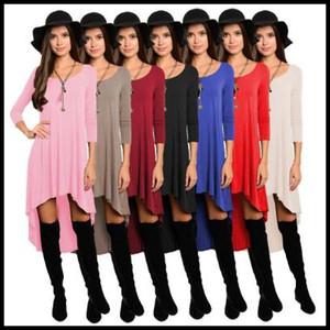 8 Цветов Женщины Повседневные Платья Свободные Блузки Нерегулярные Топы Асимметричные Мини-Платье Твердые С Длинным Рукавом Vestidos Женская Одежда CCA8431 30 шт.