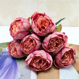 Европейский поддельные осень Пион пучок (7 голов/шт) моделирование Core Peonia для свадьбы главная витрина декоративные искусственные цветы