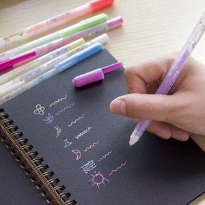 7 Цветов / Комплект Ручки подлокотника Черная Бумага Флуоресцентная краска Офис Школьные принадлежности Ручки Рисование Художественные маркеры
