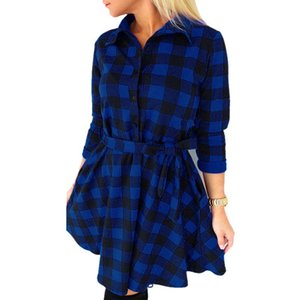 Plus Size 4XL Casual Vintage Dress 2017 Autumn Women Plaid Print Shirt Dress High Waist Casual Shirt Mini Dress Vestido