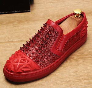 Designer Brand Men loafers Red Black Diamond Rhinestones Spiked Loafers Rivets flat shoes Wedding Party Shoes free shipping