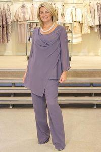 Artı Boyutu Lavanta Anne Gelin Pant Suits Of Uzun Kollu Şifon Boncuk Düğün Konuk Damat Elbise İki Adet Anneler Kıyafet Uzun Konfeksiyon