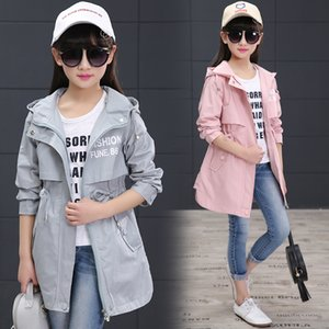 2018 spring long girls jacket children's clothing girl trench coat letter printed Teenager capoded girl coat and jackets
