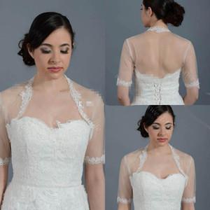 Düğün Gelin için ucuz Dantel Düğün Gelin Bolero Ceket Cap Wrap Shrug Fildişi Beyaz Şeffaf Kısa Kollu Aplike Tül Custom Made Ceket