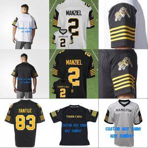 2018 Novo Estilo 2 Johnny Manziel Hamilton Tigre Gatos Jérsei Das Mulheres Dos Homens do Mensageiro 100% Costurado Bordado Logos Camisas De Futebol