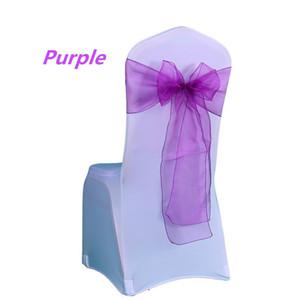 25PC Lot New Wedding Organza Chair Sash Bow For Chair Cover Banquet Wedding Party Decor Organza Sashes
