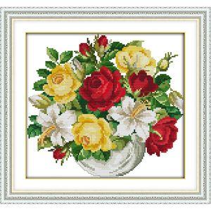 Le vase Point De Croix Kits 11CT Imprimé Tissu 14CT Toile DMC Compté Chinois Point De Croix Set broderie Couture