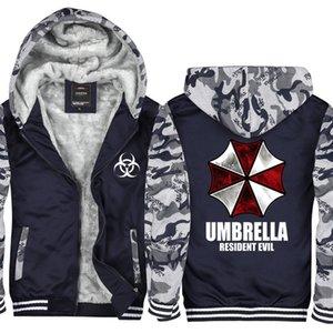 Camuflaje Anime Resident Evil Umbrella Hombres y mujeres Espesar Sudaderas Cremallera Sudaderas con capucha Chaqueta de punto de invierno Abrigo Jersey EE.