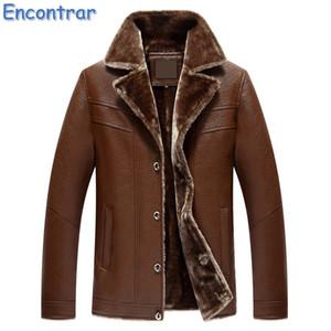 Encontrar плюс размер 5XL 6XL 7XL искусственная кожа куртка мех мужчины 2017 Ne зима флис толстая кожаная куртка мужчины меховой воротник, QA408