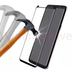 Case Friendly 3D Curved Screen Protector gehärtetes Glas Full Cover Flim Guard für Samsung Galaxy S9 Plus A8 A7 A7 A5 A3 Ohne Verpackung