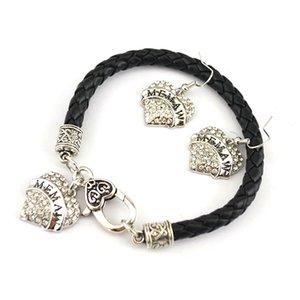 Lettres MEMAW coeur pendentif boucle d'oreille Bracelet sertie de cristaux étincelants Charm chaîne en cuir pour femme bijoux cadeau