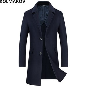 KOLMAKOV 2018 Marca mens abrigo de invierno abrigos de lana chaquetas largo doble cara abrigo de lana de los hombres abrigo de cachemira slim fit hombre M-XXL
