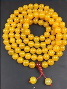 Collana di perle di agata gialla naturale da 10 mm con spedizione gratuita C4