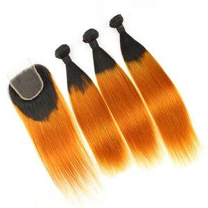 Ombre Orange Lace Closure and Bundles Two Tone 1B / Orange Ombre Peruano Recta Cabello Humano Teje con Cierre Superior 4Pcs / Lot