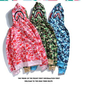 Autumn And Winter Shark Hoodies Hip Hop Male Head 2018 Autumn And Winter New Men &#039 ;S Tide Brand Men &#039 ;S Camouflage Perso