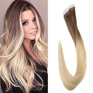 Tola de espessura e pontas completas de cor ombre em extensões de cabelo humano fita dupla fita sem costura em extensões de cabelo