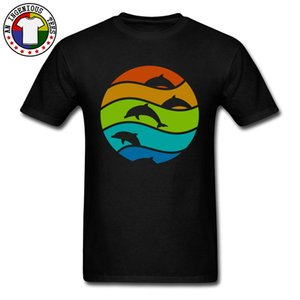T-shirt uomo T-shirt autunno-cotone t-shirt Top T-shirt uomo Ocean Dolphin Top T-shirt da uomo